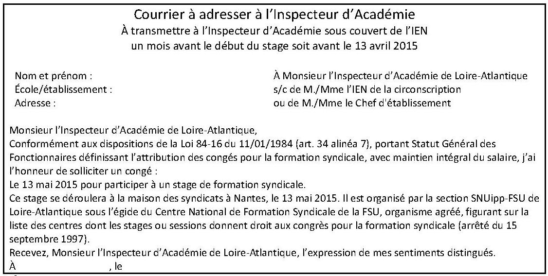 Courrier stage IA